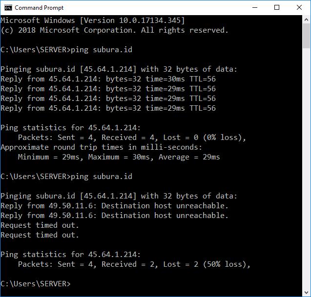 Aksi ping pada komputer Windows. Foto: screenshot