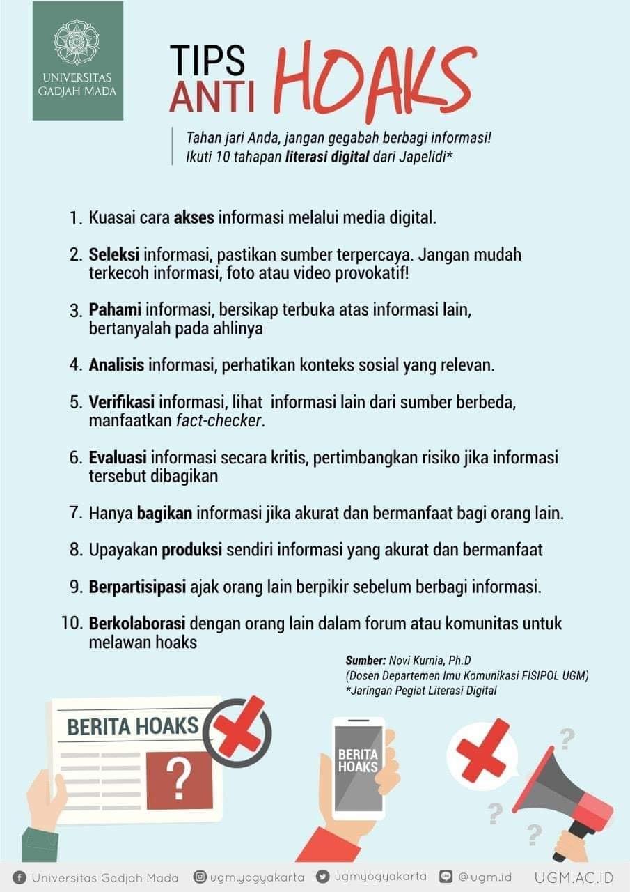 Ini Tips Anti Hoaks dari UGM. Sumber: https://www.instagram.com/p/BoyLUzeB71r/