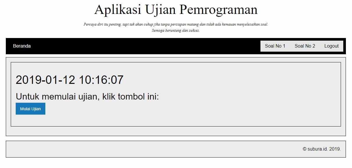 Tampilan awal sederhana, menunjukkan kapan peserta ujian mulai mengerjakan soal. Foto: Screenshot