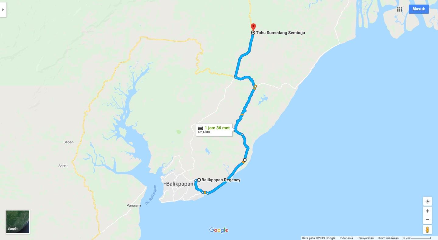 Rute Sunmori jalur Timur. Source: Google Map