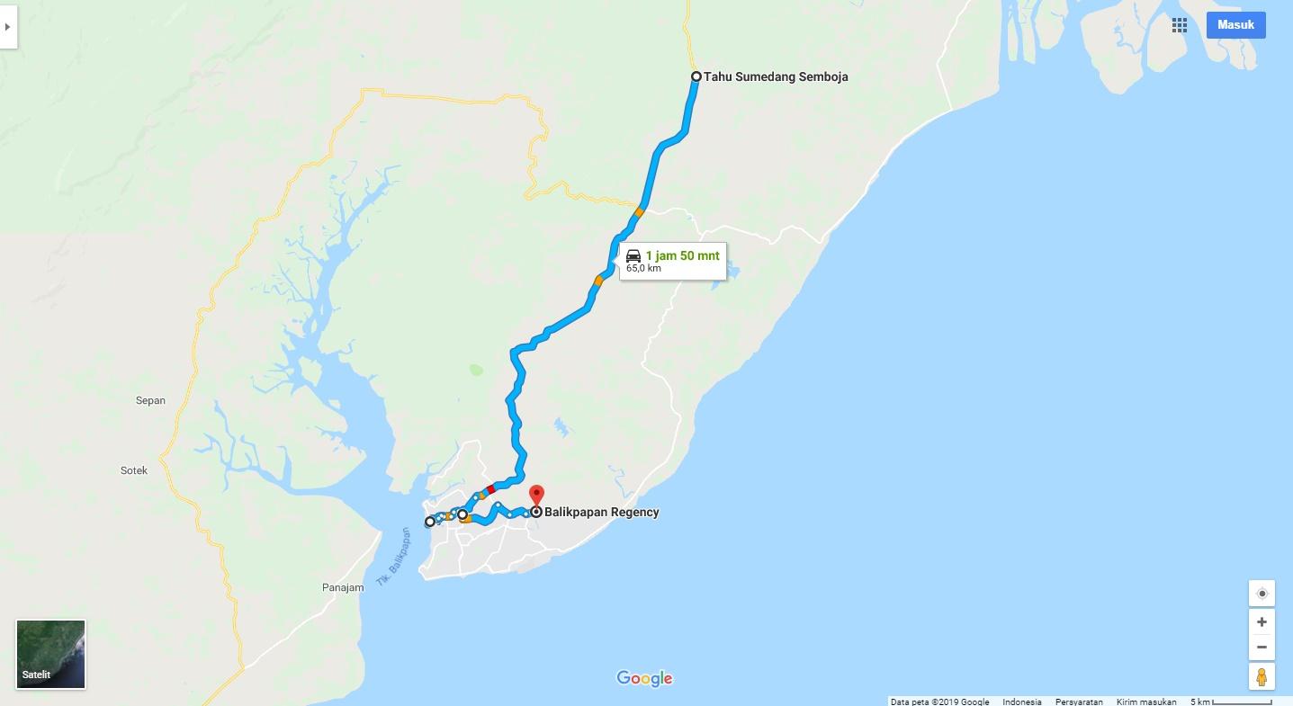 Rute Sunmori jalur Barat menuju Balikpapan. Source: Google Map