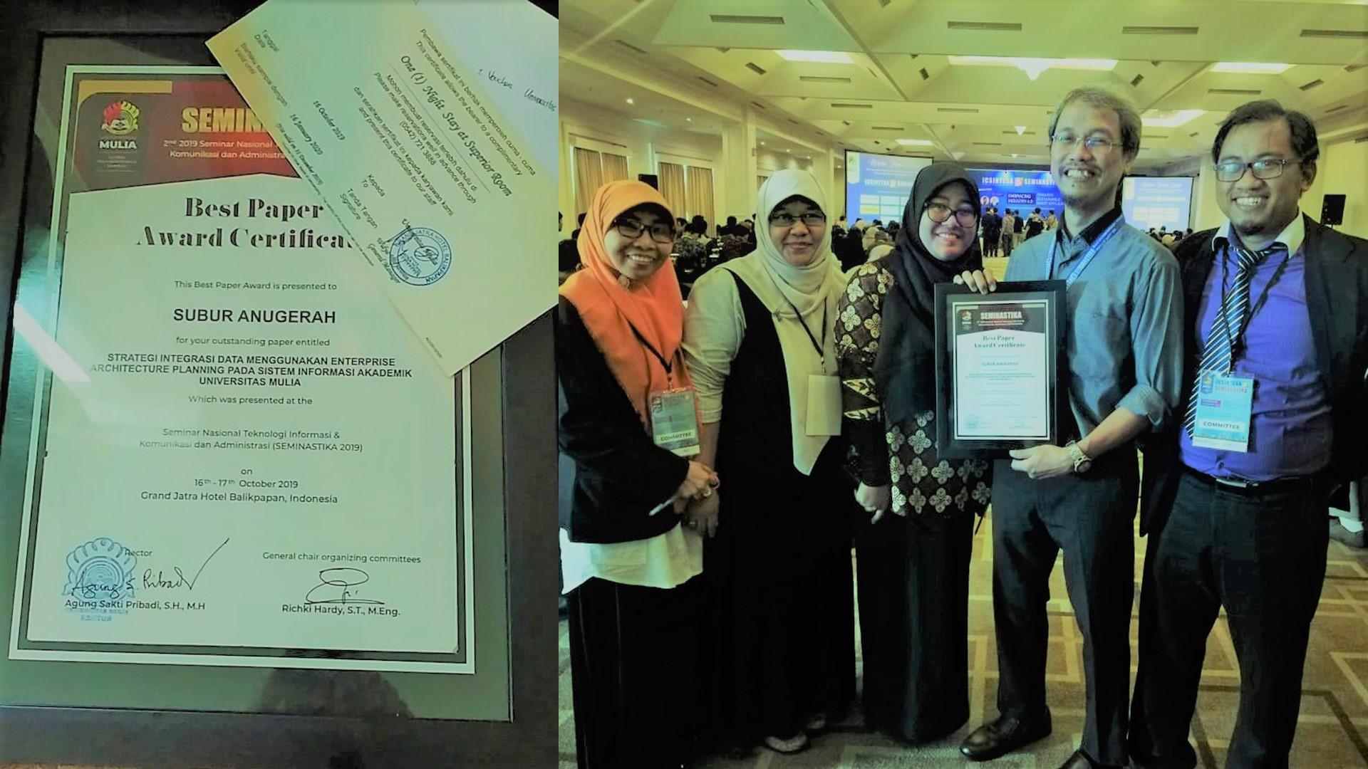 Mendapat sertifikat dan tiket menginap sehari semalam di Hotel Grand Jatra. Foto: Istimewa.