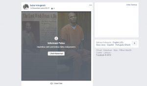 Pemberitahuan dari Facebook bahwa berita yang beredar adalah tidak benar. Foto: Screenshot