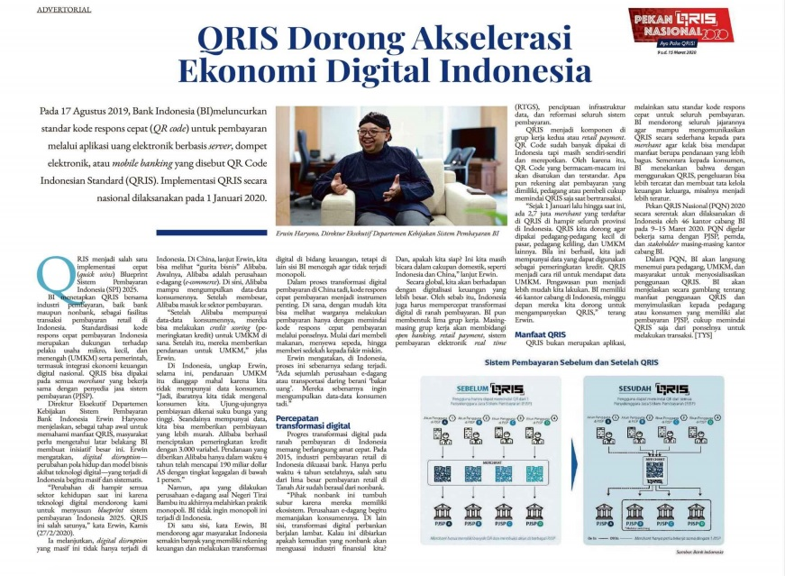 Advertorial QRIS di Kompas, 3 Maret 2020. Foto: tangkapan layar