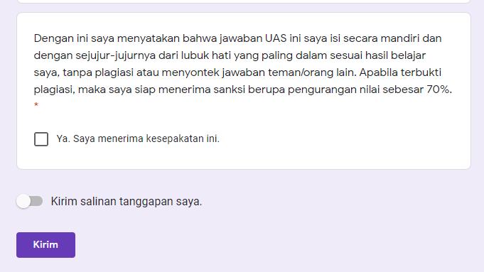 Siswa atau mahasiswa setiap kali ujian harus SEPAKAT dengan pernyataan ini jika ingin dinilai pengajar. Foto: Screenshot