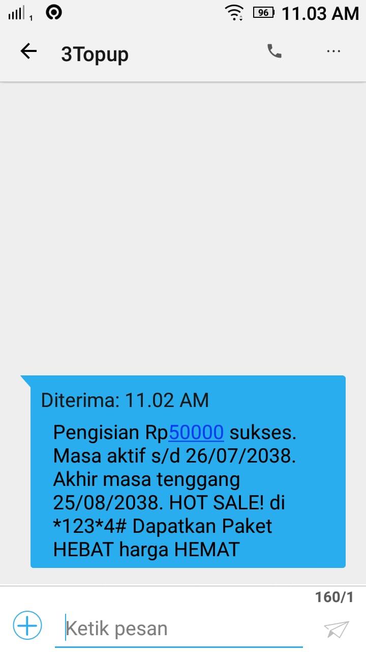 Dapat kiriman pulsa 50 ribu gratis dari 3Topup, Minggu (13/9) pukul 11.02 AM. Foto: dok. pribadi