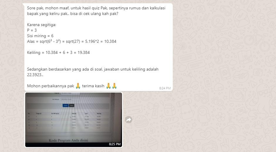 Mahasiswa mengoreksi soal ujian segitiga sama kaki. Foto: WhatsApp