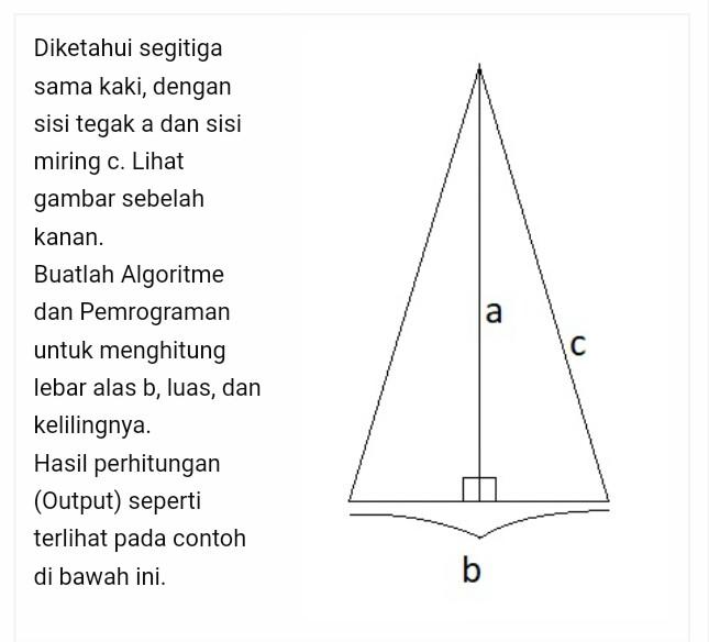 Soal segitiga sama kaki yang dikoreksi mahasiswa tersebut.