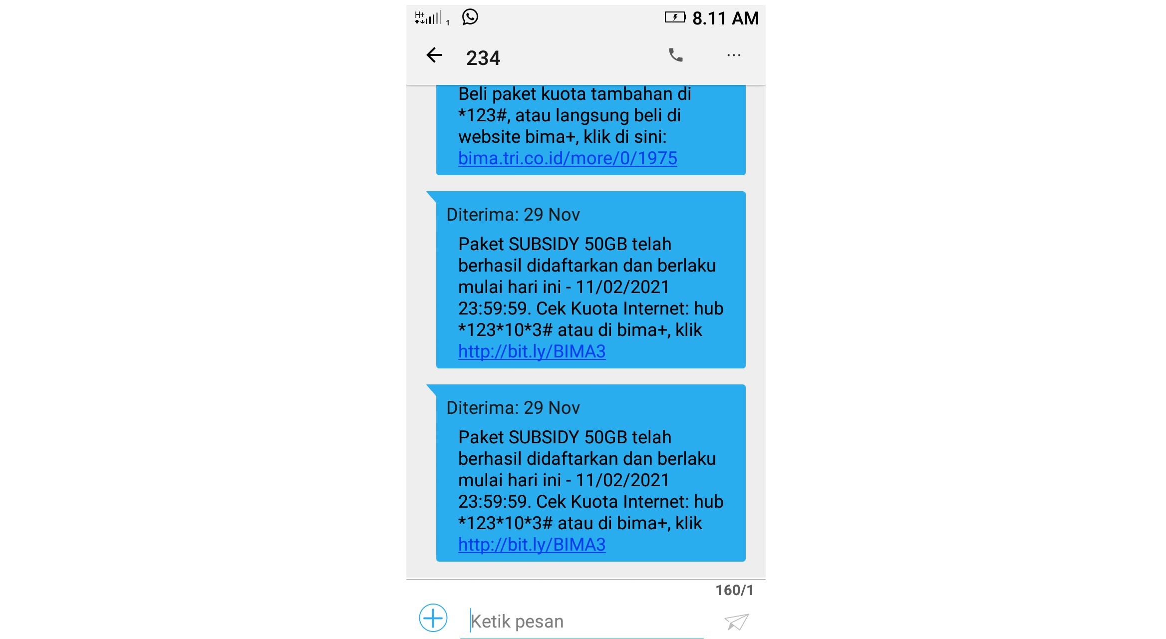 Tangkapan layar SMS dari provider. Foto: dok. pribadi