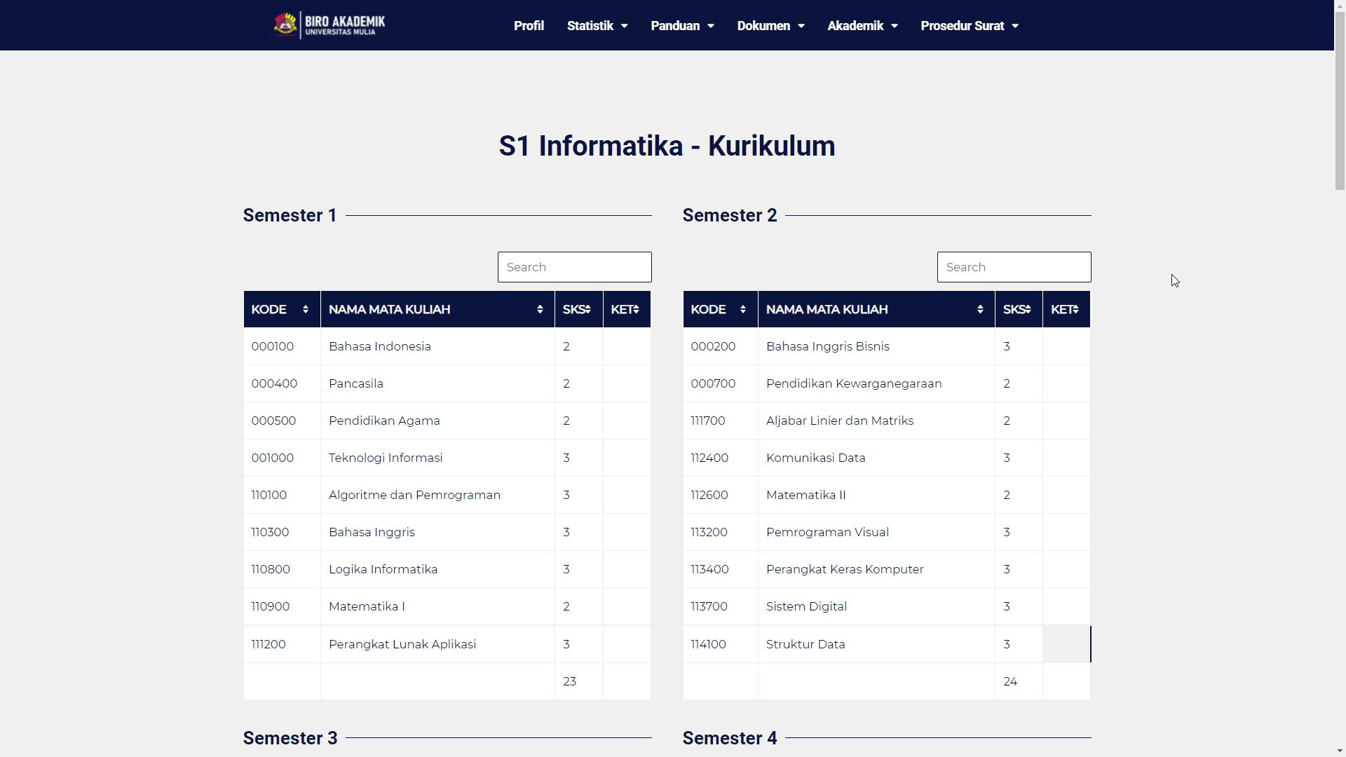 Daftar Mata Kuliah . Foto: Tangkapan layar https://baak.universitasmulia.ac.id